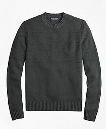 Textured Chest Stripe Merino Wool Crewneck Sweater