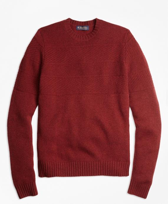 Textured Chest Stripe Merino Wool Crewneck Sweater Rust