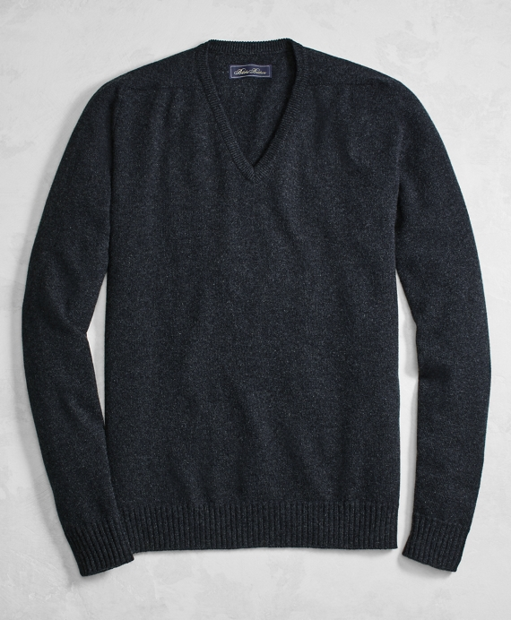 Golden Fleece® 3-D Knit Cashmere V-Neck Sweater Charcoal