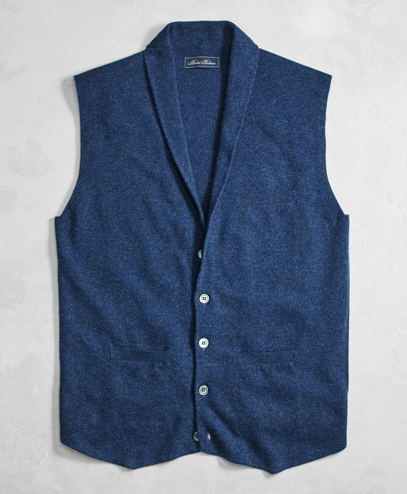 Golden Fleece® 3-D Knit Cashmere Shawl Collar Sweater Vest
