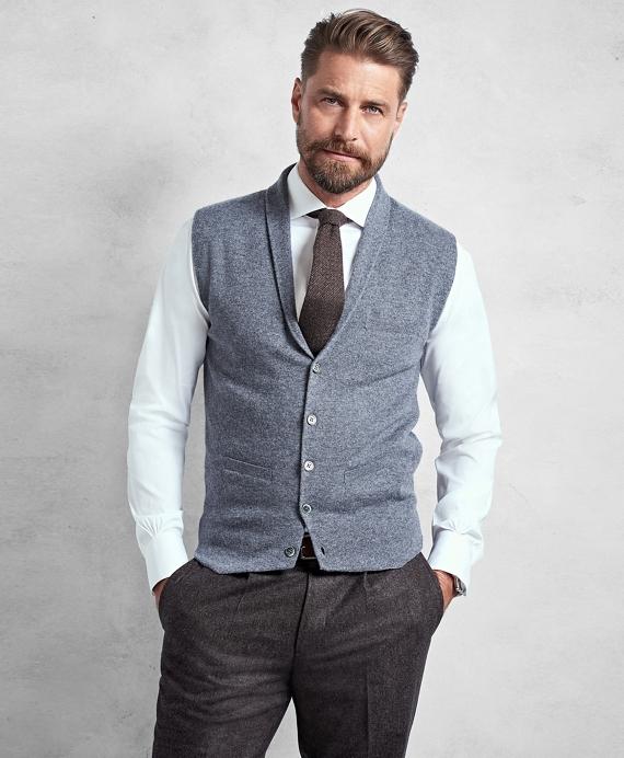 Golden Fleece® 3-D Knit Cashmere Shawl Collar Sweater Vest