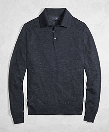 Golden Fleece® 3-D Knit Fine-Gauge Merino Wool Polo Sweater