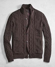 Golden Fleece® 3-D Knit Cashmere Blend Full-Zip Sweater with Lining