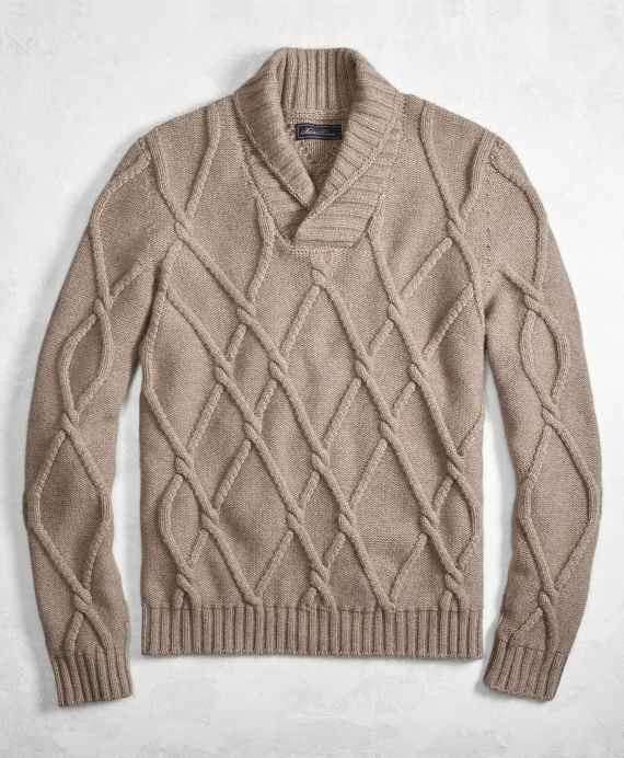 Golden Fleece® 3-D Knit Cashmere Blend Cable Shawl Collar Sweater Taupe