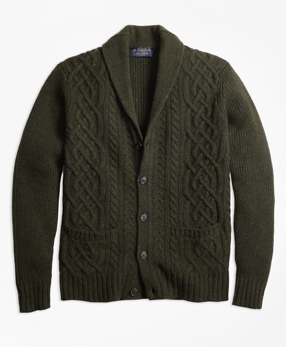 Braemar™ for Brooks Brothers Cable Shawl Collar Cardigan Dark Green