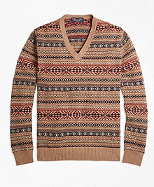 Braemar for Brooks Brothers Fair Isle V-Neck Sweater