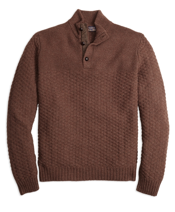 Braemar for Brooks Brothers Button Mockneck Sweater Brown