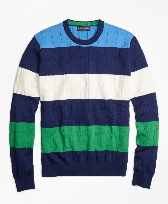 Cable Knit Slub Stripe Crewneck Sweater Navy-Multi