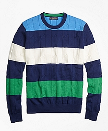 Cable Knit Slub Stripe Crewneck Sweater