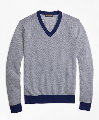 Two-Color Textured Stitch V-Neck Sweater