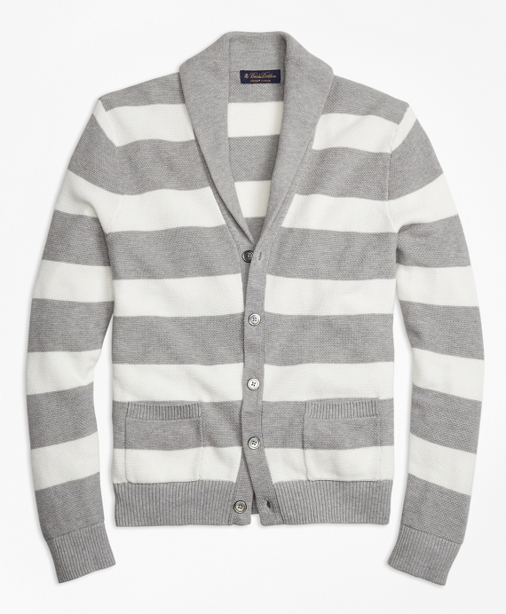 Double-Pique Stripe Shawl Collar Cardigan