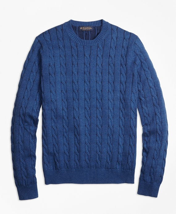 Supima® Cotton Cable Knit Crewneck Sweater