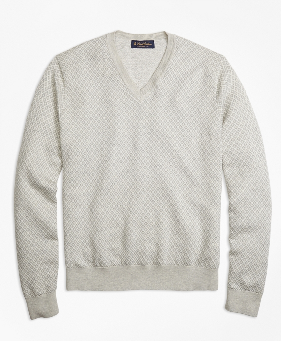 Supima® Cotton Cashmere Jacquard V-Neck Sweater