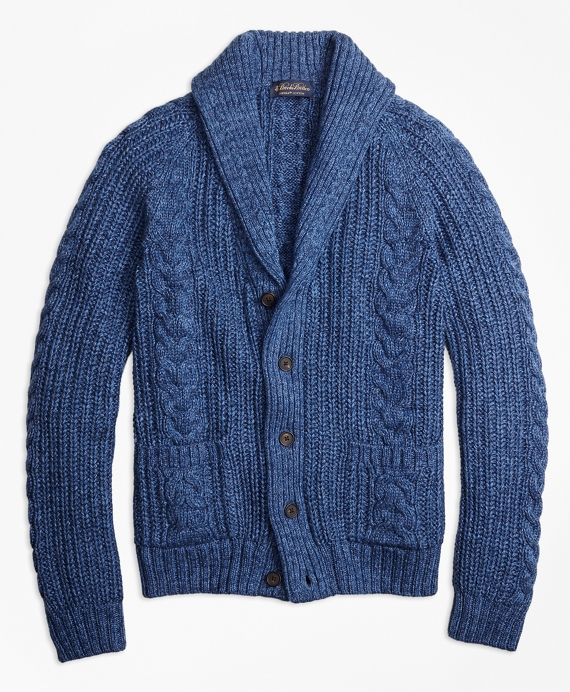 Supima® Cotton Marl Cable Knit Shawl Collar Cardigan