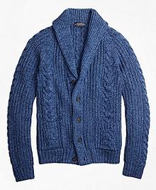 Supima® Cotton Marl Cable Knit Shawl Collar Cardigan