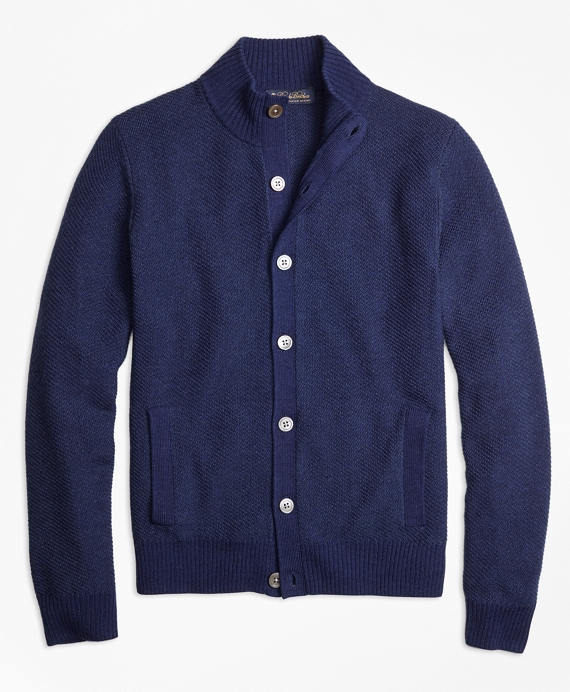 Italian Merino Wool Twill Stitch Cardigan Navy