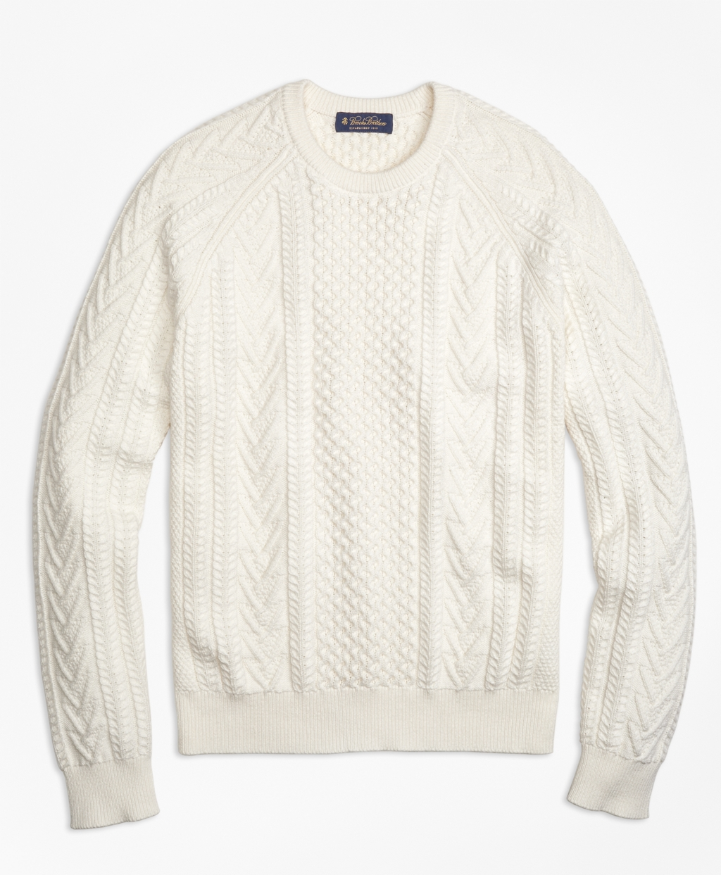 Cotton Fisherman Crewneck Sweater - Brooks Brothers