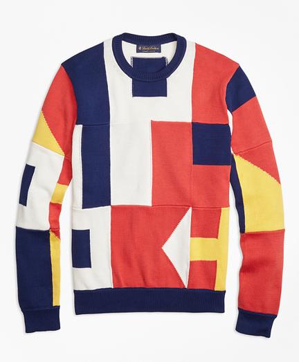 Supima® Cotton Signal Flag Crewneck Sweater