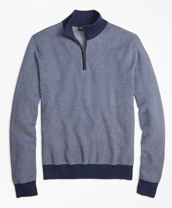 Supima® Cotton-Cashmere Textured Half-Zip Sweater Navy
