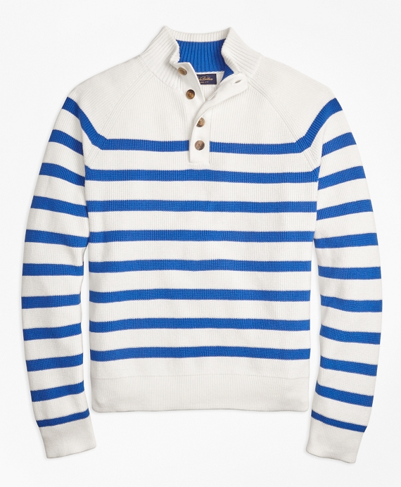 Supima® Cotton Stripe Button Mocneck Sweater Blue