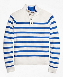 Supima® Cotton Stripe Button Mocneck Sweater