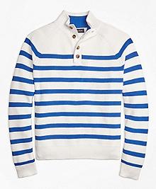 Supima® Cotton Stripe Button Mocneck Sweater