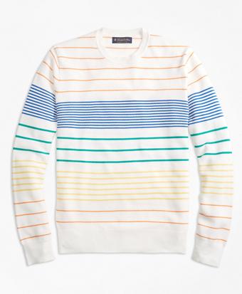 Supima® Cotton Multi-Stripe Crewneck Sweater