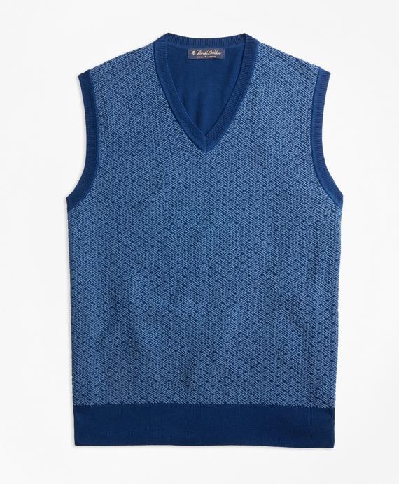 Supima® Cotton Jacquard Sweater Vest Blue