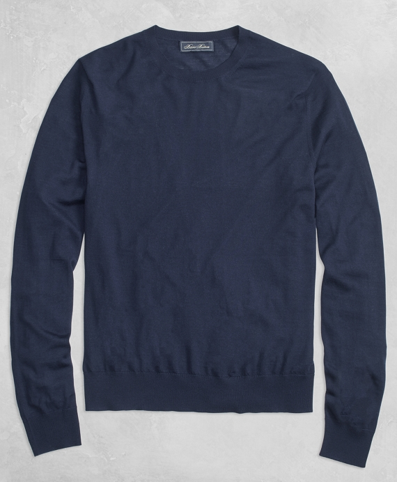 Golden Fleece® 3-D Knit Fine-Gauge Merino Crewneck Sweater Navy