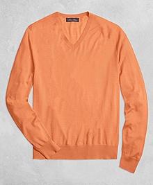 Golden Fleece® 3-D Knit Fine Gauge V-Neck Sweater