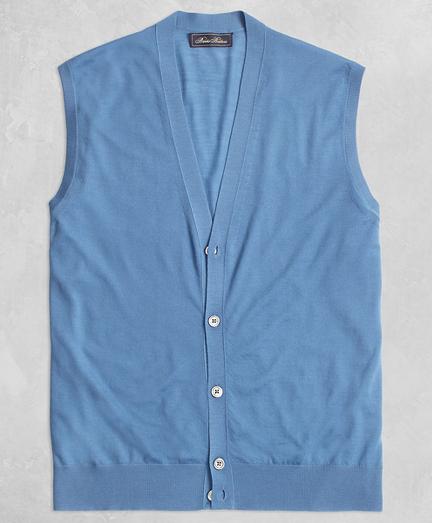 Golden Fleece® 3-D Knit Fine Gauge Button Vest Sweater