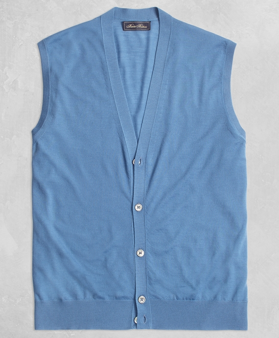 Golden Fleece® 3-D Knit Fine Gauge Button Vest Sweater