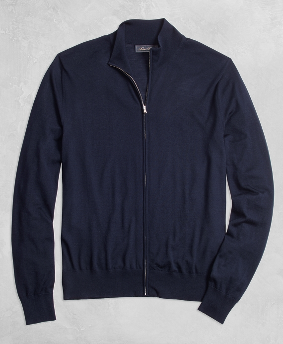 Golden Fleece® 3-D Knit Fine Gauge Full-Zip Sweater Navy