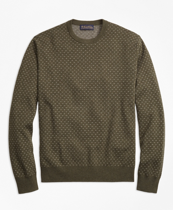 Supima® Cotton Cashmere Bird's-Eye Crewneck Sweater Olive