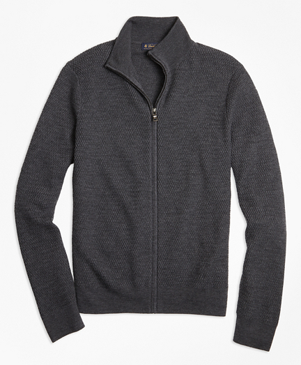Textured Merino Wool Full-Zip Sweater