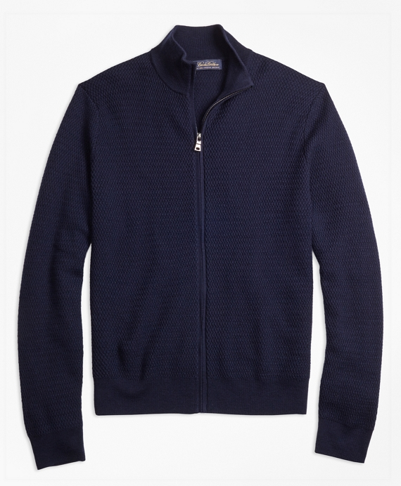 Textured Merino Wool Full-Zip Sweater Navy