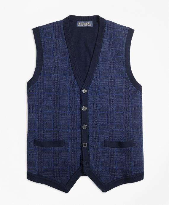 Merino Wool Plaid Waist Coat Navy