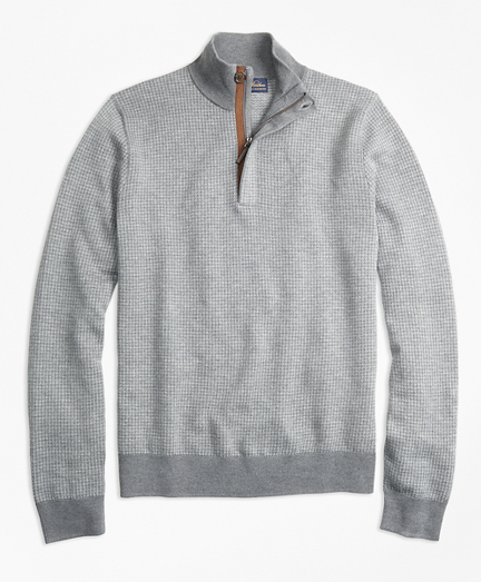 Supima® Cotton Cashmere Houndstooth Half-Zip Sweater