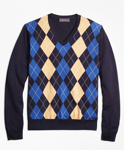 Supima® Cotton Cashmere Argyle V-Neck Sweater