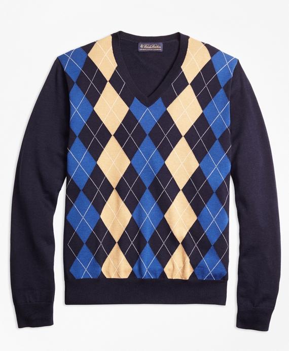 Supima® Cotton Cashmere Argyle V-Neck Sweater Navy
