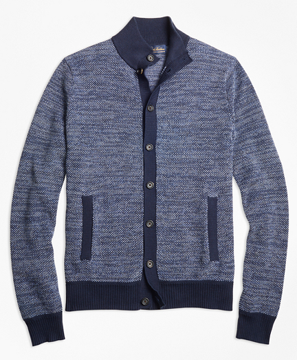 Supima® Cotton Cashmere Bird's-Eye Button-Front Cardigan