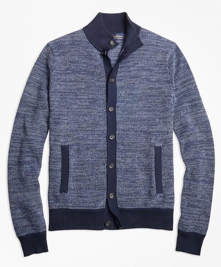 Supima® Cotton Cashmere Bird's-Eye Button-Front Cardigan