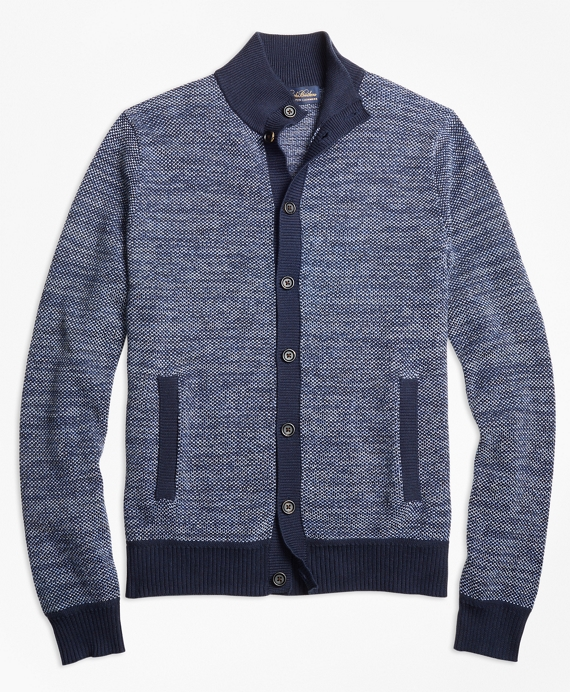 Supima® Cotton Cashmere Bird's-Eye Button-Front Cardigan Navy