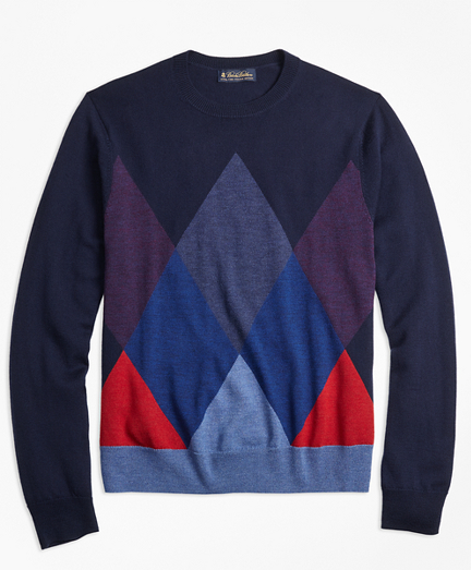 Merino Wool Argyle Crewneck Sweater