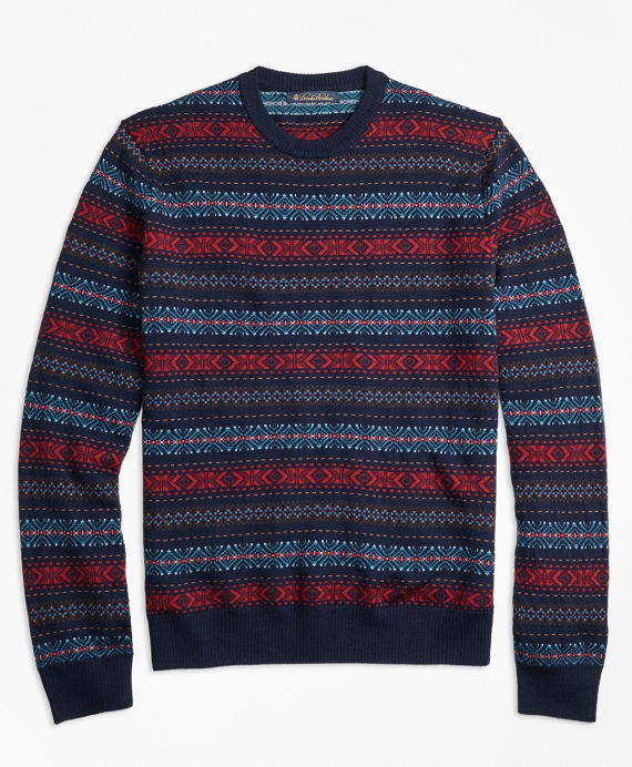 Merino Wool Fair Isle Crewneck Sweater Multi
