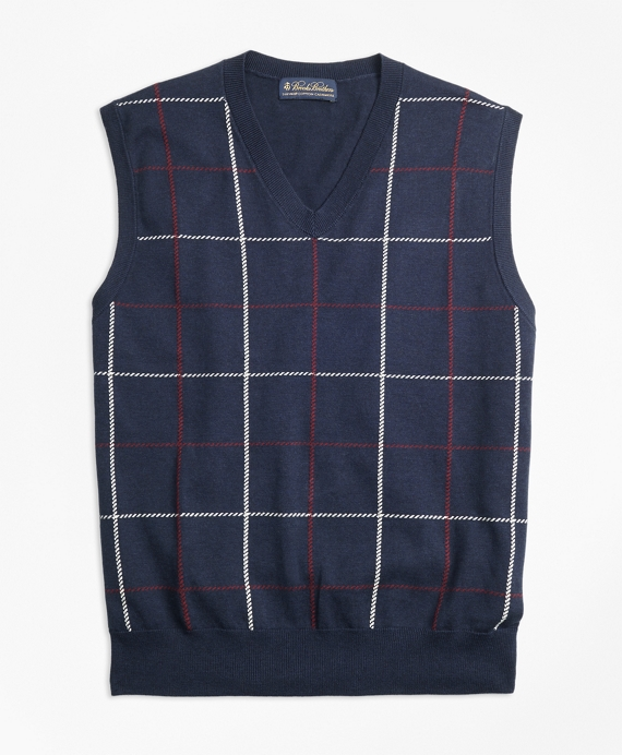 Supima® Cotton Cashmere Windowpane Vest Navy