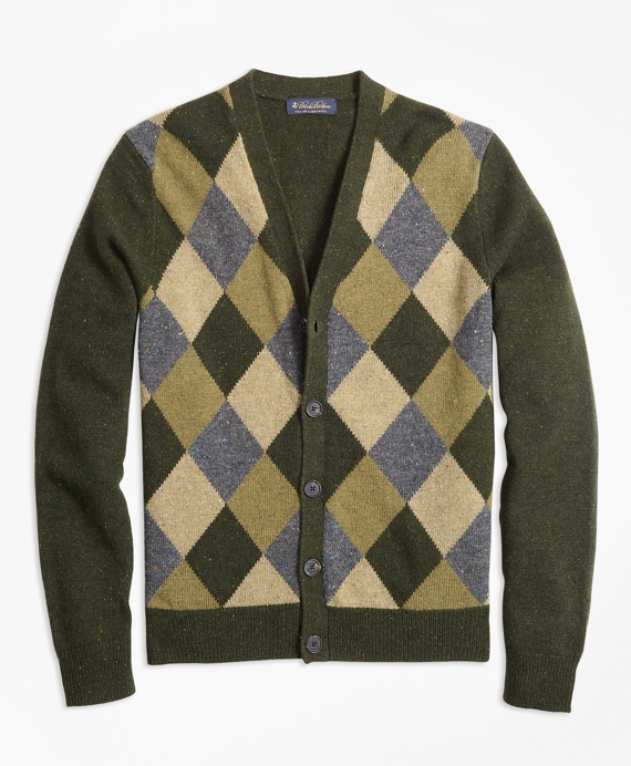 Lambswool Button-Front Argyle Cardigan Green