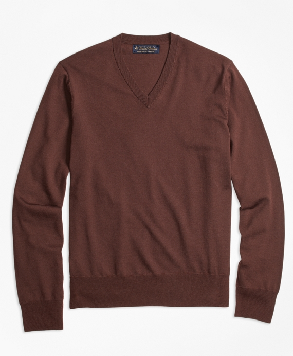 BrooksTech™ Merino Wool V-Neck Sweater Brown