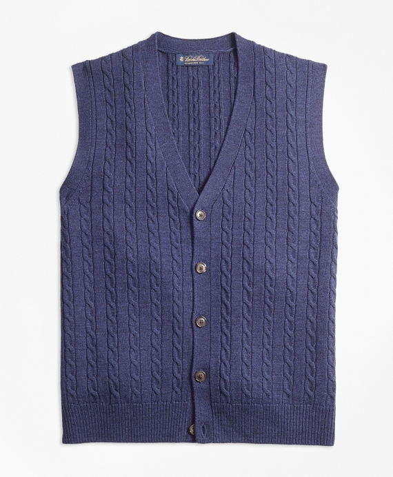 Merino Wool Cable Button-Front Vest Blue