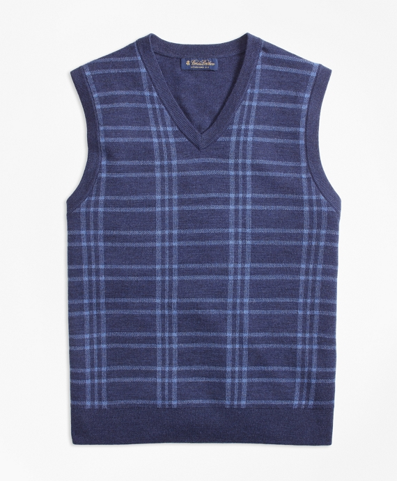Merino Wool Plaid Vest Blue